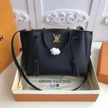 real shot M54569 Louis vuitton/LV  lockmeto tassel triple-department tote shopping bag handbag in pebbled cowhide leather gold hardware