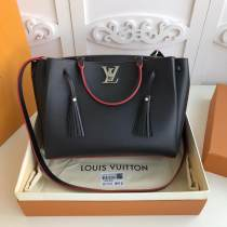 real shot M54569 Louis vuitton/LV  lockmeto tassel triple-department tote shopping bag handbag in pebbled cowhide leather silver hardware