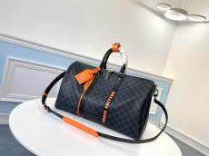 N40166 Louis Vuitton/LV keeoall damier canvas large-capacity traveling bag handbag silver hardware