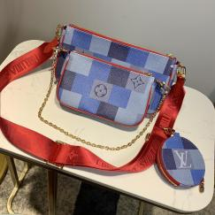 Louis Vuitton/LV damier canvas favorite crossbody shoulder bag three-pieces set with broad nylon shoulder strap