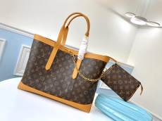 M44657 Louis Vuitton/LV monogram large-capacity open tote bag handbag attached with small coin purse vintage copper hardware