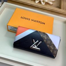 M60966 Louis vuitton/LV clamshell color-block two-folding longwallet graceful clutch multi-slots credit card holder