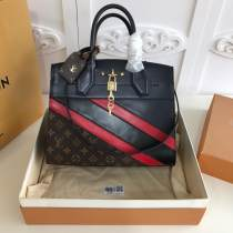M55433 Louis Vuitton/LV city steamer handbag mixed-material large-capacity crossbody shopping bag with clasic aureate padlock decoration