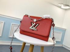 Louis VUitton/LV scratch-proof flap messenger sling-chain crossbody shoulder bag with iconic V-shape Twist Lock