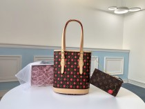 two-pieces set Louis Vuitton/LV cherry printing canvas handbag bucket bag equipped with small zipper pouch