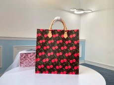 M51140 Louis Vuitton/LV SAC PIAT cherry printing canvas shopping tote bag large-capacity handbag gorgeous street look