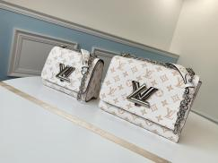 Louis Vuitton/LV twist monogram flap sling-chain crossbody shoulder bag retro messenger bag with iconic twist lock
