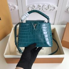 three size !!Louis Vuitton/LV capucines BB handbag flap double-compartment briefcase stylish casual crossbody shoulder bag in scratch-proof  alligator leather