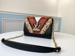 M53926 Louis Vuitton/LV twist clamshell retro messenger bag sling-chain crossbody shoulder bag in epi leather with a cute twist lock