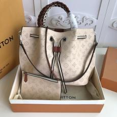 M53915 Louis Vuitton/LV Girolata woven handbag tassel drawstring printing bucket bag with four protect metal semi-sphere studs at bottom