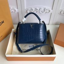 three size !!Louis Vuitton/LV capucines BB handbag flap double-compartment briefcase stylish casual crossbody shoulder bag in scratch alligator leather