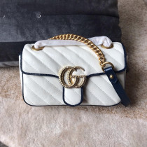 Gucci marmont female casual clamshell V-shape quited messenger bag sling-chain shoulder waist bag  aureate hardware double size
