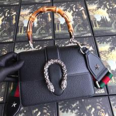 Gucci Dionysus female luxury bamboo bag clamshell portable shoulder bag embellished with diamond-encrusted metal tiger head at front fastener