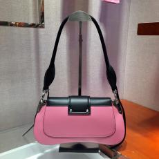 1BD168 Prada female color-contrast vintage flap half-moon saddle bag equipped with twin shoulder strap silver hardware