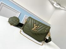 M56466 Louis Vuitton/LV women casual wave-pattern-quilted two-pieces-set flap messenger shoulder bag vintage bronze hardware