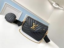 M56466 Louis Vuitton/LV women casual wave-pattern-quilted two-pieces-set flap messenger shoulder bag embellished with petite practical coin pouch at shoulder strap