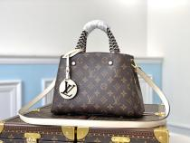 M45311 Louis Vuitton/LV Montaigne BB female monogram large-capacity shopping tote bag with a charming hollow-logo ornament and woven handle