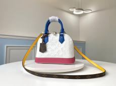 M91606 Louis Vuitton/LV Alma BB handbag mixed-material embossed glossy zipper crossbody shoulder bag in patent leather and silver hardware