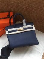 Hermes Birkin 25CM Cowhide Leather Dark Blue/Gold Hardware Tote Bag