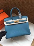 Hermes Birkin 30CM Cowhide Leather Blue/Gold Hardware Tote Bag