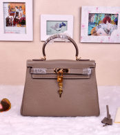 Hermes Kelly 32CM Cowhide Leather Etoupe/Gold Hardware Handbag Bag H8532