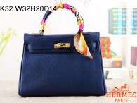 Hermes Kelly 32CM Cowhide Leather Ssapphire Blue/Gold Hardware Handbag Bag H8532