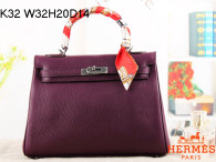 Hermes Kelly 32CM Cowhide Leather Purple/Silver Hardware Handbag Bag H8532