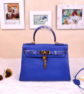 Hermes Kelly 32CM Cowhide Leather Electric Blue/Gold Hardware Handbag Bag H8532