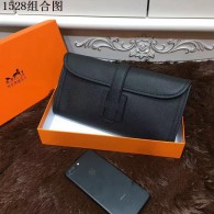 Hermes Clutches 29CM Cowhair Leather Evening bag Black H1528