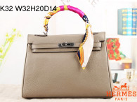 Hermes Kelly 32CM Cowhide Leather Light Grey/Silver Hardware Handbag Bag H8532