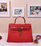 Hermes Kelly 32CM Cowhide Leather Red/Gold Hardware Handbag Bag H8532