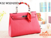 Hermes Kelly 32CM Cowhide Leather Pink/Silver Hardware Handbag Bag H8532