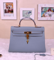 Hermes Kelly 32CM Cowhide Leather Blue Linen/Gold Hardware  Handbag Bag H8532