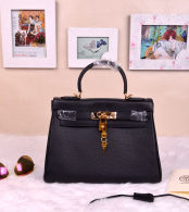 Hermes Kelly 32CM Cowhide Leather Black/Gold Hardware Handbag Bag H8532