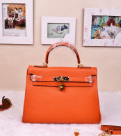 Hermes Kelly 32CM Cowhide Leather Orange/Gold Hardware Handbag Bag H8532