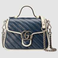 Gucci GG Marmont Mini Top Handle Bag Blue Diagonal Matelasse Leather Boston Bags 583571