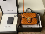 Gucci GG Marmont Mini Top Handle Bag Khaki Diagonal Matelasse Leather Boston Bags 583571