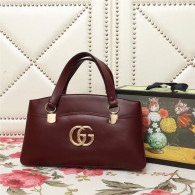 Gucci Arli Large Top Handle Bags Double GG Logo Vintage Handbag Burgundy 550130