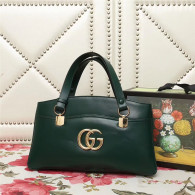 Gucci Arli Large Top Handle Bags Double GG Logo Vintage Handbag Dark Green 550130