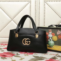 Gucci Arli Large Top Handle Bags Double GG Logo Vintage Handbag Black 550130
