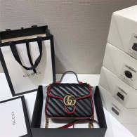 Gucci GG Marmont Mini Top Handle Bag Black Diagonal Matelasse Leather Boston Bags 583571