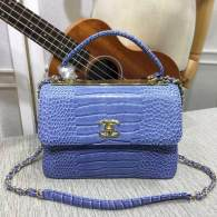 Chanel Small Flap Bag with Top Handle Trendy CC Blue Crocodile Pattern Chain Bag 92236