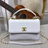 Chanel Small Flap Bag with Top Handle Trendy CC White Crocodile Pattern Chain Bag 92236
