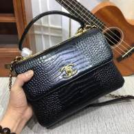 Chanel Small Flap Bag with Top Handle Trendy CC Black Crocodile Pattern Chain Bag 92236