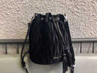 Miu Miu Soft Sheepsking Bucket Bag Woman's Shoulder Bag 5BE014 Black with Silver Hardware