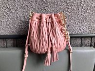 Miu Miu Soft Sheepsking Bucket Bag Woman's Shoulder Bag 5BE014 Pink