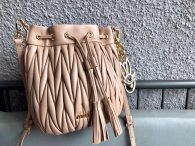 Miu Miu Soft Sheepsking Bucket Bag Woman's Shoulder Bag 5BE014 Apricot