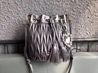 Miu Miu Soft Sheepsking Bucket Bag Woman's Shoulder Bag 5BE014 Silver