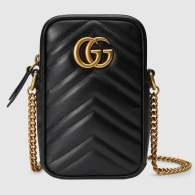 Gucci Black Quilted V Leather GG Marmont Mini Bag 598597