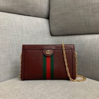 Gucci Ophidia Small Shoulder Bag Bordeaux Leather 503877